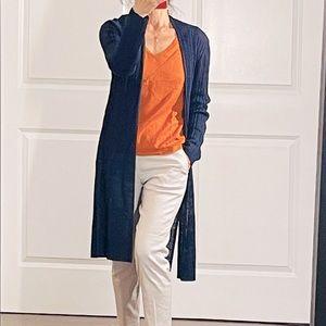 Eileen Fisher Long Open Organic Linen Cardigan M